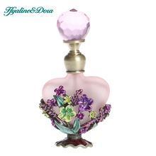 3.2*1.6*0.6 inch Flower Glass&Metal Empty 8ml Retro Antique Perfume Container Bottles Painting Refillable Bottle Collection