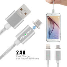 1M 2.4A Fast Universal Micro USB Metal Magnet Data Charger Cable Magnetic Power Cables Adapter For Samsung Android XiaoMi iPhone