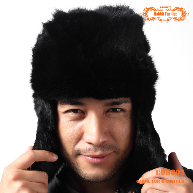 CDH005 100% Real Rabbit Fur Hat with Ear Flaps For Men in Winter For Keep WarmОдежда и ак�е��уары<br><br><br>Aliexpress
