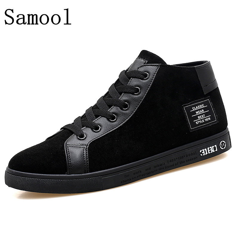 Autumn Winter Suede Leather Shoes Men Casual Shoes Fashion High Top Men High Pipe Retro Comfortable Light Mens Flat Shoes <br>