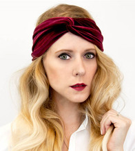 Womens Headband Solid Velvet Turban Twist Bow Knot Headbands Headwrap hair band