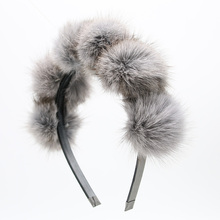 2017 Real Fox fur pompom 5cm full head children fashion hairband winter style children hair accessories(China)