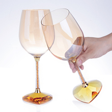 1 pair High-grade heart-shaped diamond crystal red wine glass goblet/ Creative large-sized couples wine glass/ Fashion goblet