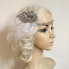 White Feather Flapper Headband 1920s Headpiece Diamante Crystal Chain Wedding Bridla Party Fancy Dress Women Hair Accessory