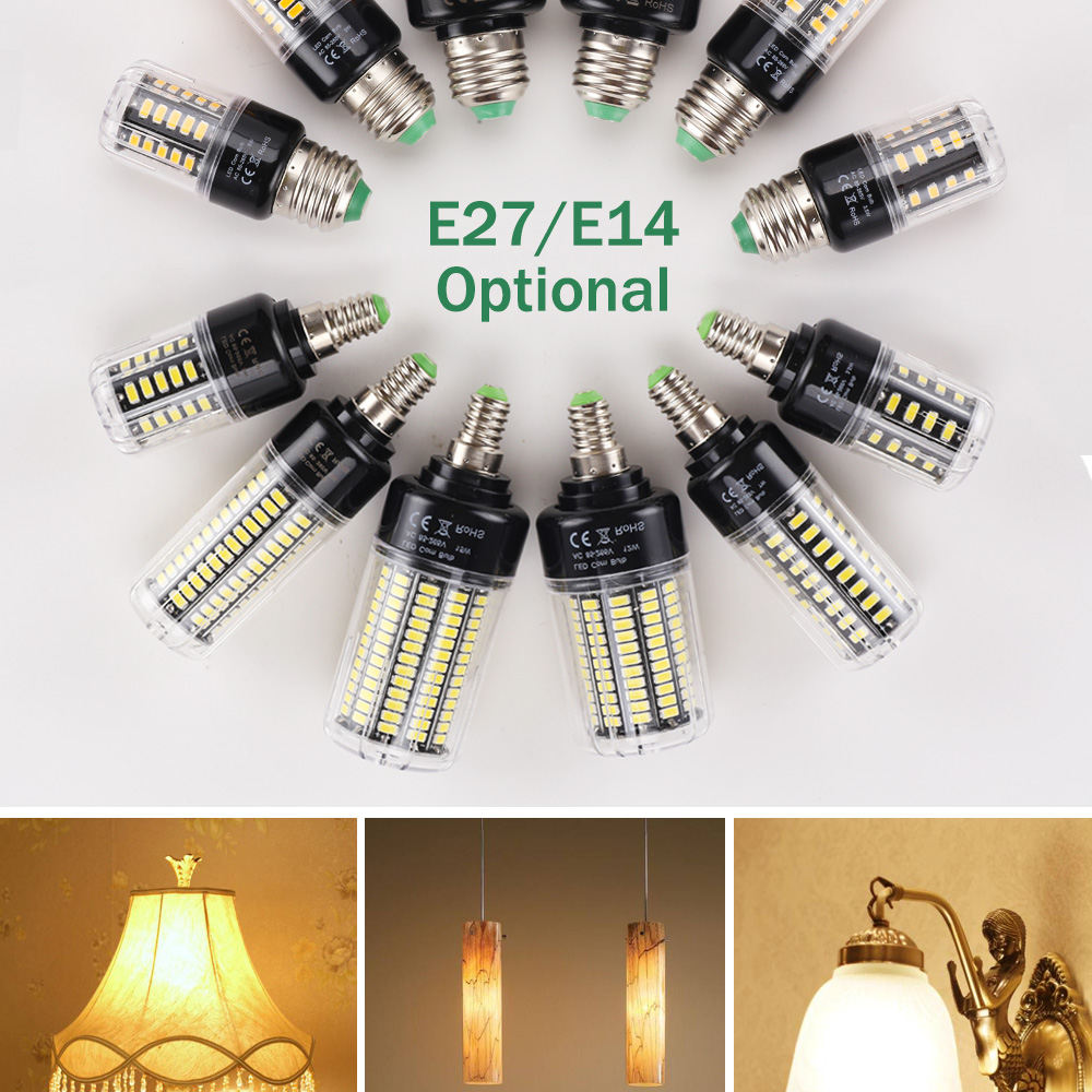 LUCKY LED Corn Bulb Light E27 E14 3W 5W 7W 9W 12W 15W No Flicker 360 degrees for Pendant Light Source AC110V 220V 5730 SMD lamp 3