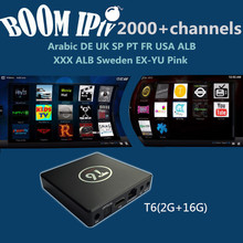 BoomIPTV subscription Android6.0 T6 Smart tvbox 2000+Channels Europe DE FR IT SP UK EX-YU AR TR ALB NL USA qhdtv neotv a95x
