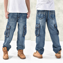 hot new large size jeans fashion loose Big pockets hip-hop casual men jeans wide leg