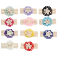 2017 Hot Girl Headbands Cloth kids hair band Lace Flower headband hair bows Elastic Adorable girl Hair Accessories Drop Shipping(China)