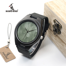 BOBO BIRD WF04 Classic Ebony Wooden Watches Green Wood Dial Face Quartz Watches for Men in wooden box