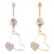 Belly button rings Heart Golden color Body Jewelry woman body piercing Wholesale navel rings 14G Surgical Steel bar nickel free(China)