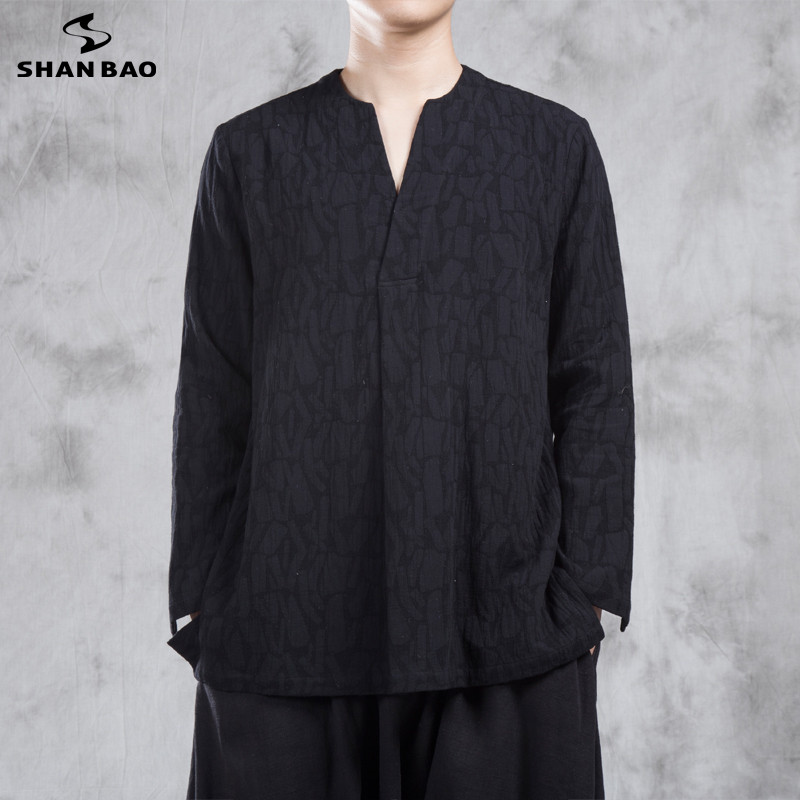 SHANBAO original brand men's casual loose cotton linen long-sleeved T-shirt fashion Chinese style V-neck jacquard T-shirt autumn