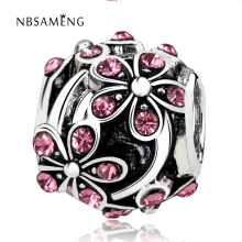 New Silver Plated Bead Charm European Vintage Orange Blossom with Crystal Beads Fit Pandora Bracelet Bangle DIY jewelry YW15604