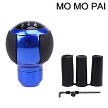 Hot momo pai 5 Speed Truck Manual MT Car Leather Gear Shift Knob Shifter Lever Unviersal Blue / Silver
