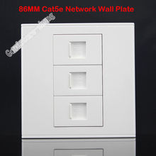 Wall Socket 3 Ports Socket Network Ethernet LAN CAT5 CAT 5e Outlet Panel Faceplate Home Plug Adapter Standard 86mm Wholesale