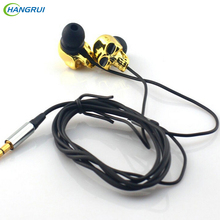 HANGRUI Metal In ear earphone skull head Earbuds Stereo Super Bass Headsets Earbud For iPhone Samsung all phones fone de ouvido(China)