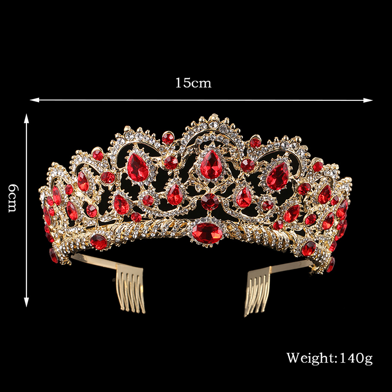 KMVEXO European Drop Green Red Crystal Tiaras Vintage Gold Rhinestone Pageant Crowns With Comb Baroque Wedding Hair Accessories 7