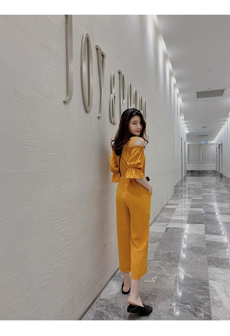 Women's Clothing 2019 Summer New Sexy Bohemian Style Spaghetti Strap Helf Sleeve High Waist Sling Long Beach Wide Leg Jumpsuit 12 Online shopping Bangladesh