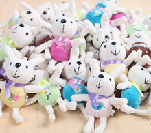 Wholesale 10pcs Kawaii Mini Rabbit 12CM Stuffed Toy Doll , Wedding Bouquet Doll Toy , Phone String Pendant Gift Toys