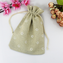 Whoesale 100pcs 10*14cm vintage wedding gift bag, promotional gift bag, linen cotton drawstring pouches(China)