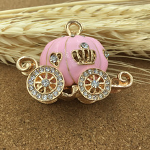 Alloy Oil Drop Rhinestone Pink Princess Carriage Shape Jewelry Necklace Pendant Fashion Cell Phone Decoration DIY Stikers
