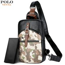 (Ship from US) VICUNA POLO Fashion Camouflage Black Soft Leather Messenger  Bag Casual Men Sling Bag Brand Short Travel Shoulder Bag For Male fa5804f51e