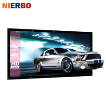 NIERBO 100 Inch Projector Screen Canvas Matt White Portable Projection Screens 3D HD Home Theater Fabric Wall Mounted Ceiling(China)