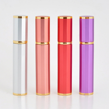 New Style 8ML Portable Glass  Refillable Perfume With Atomizer Empty Aluminum Parfum Case For Traveler