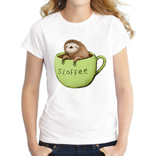 2016 Newest Women Sloth Coffee Printed T shirt Short Sleeve Fashion T-Shirt Novelty Cool Tee Shirts