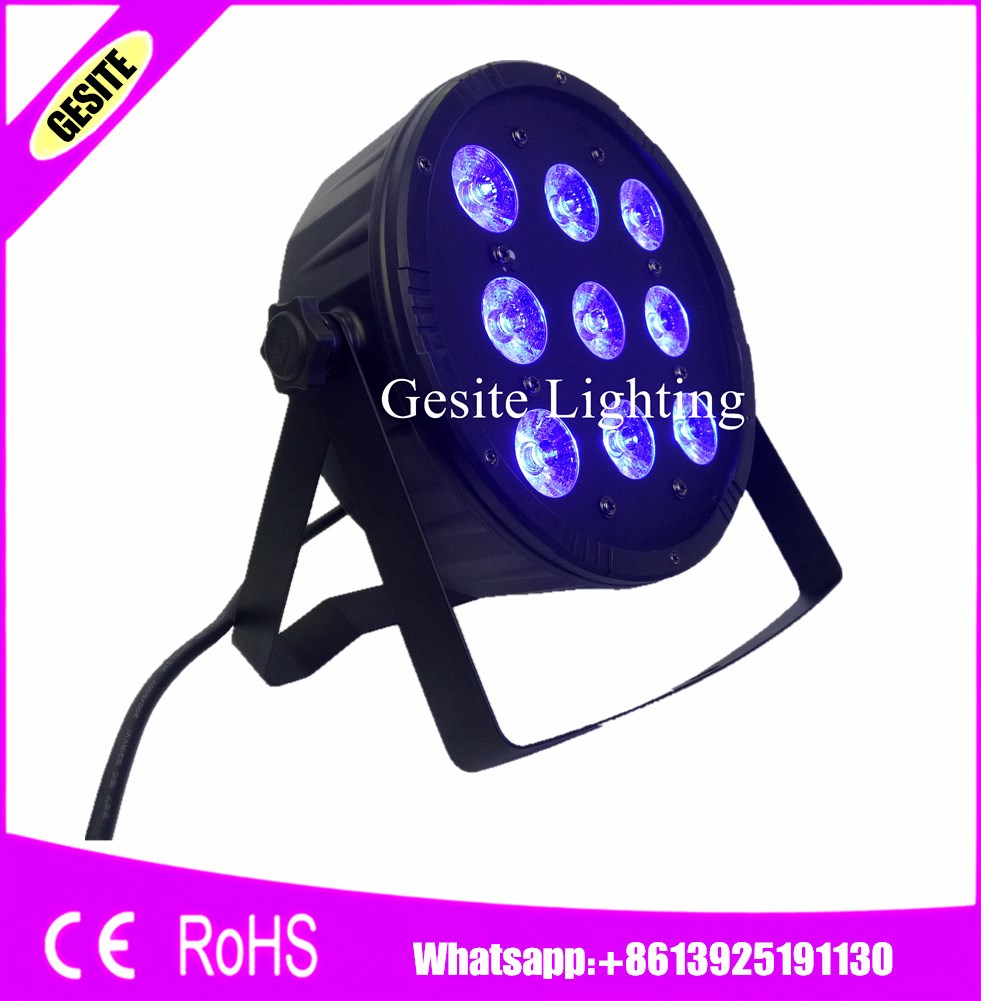 12pcs/lot LED Par 9x12W RGBW 4IN1 DMX 7 Channels LED Flat Par Light Fast Shipping<br>