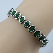925 Sterling Silver Small Round Green Created Emerald Bracelet Health Fashion  Jewelry For Women Free Jewelry Box SL125