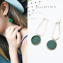 Selling Simple Green Circle Small Fresh Girl Earrings Female Personality Wild Short Earrings Vintage Earrings For Women Brincos(China)