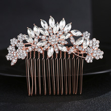 Gorgeous Art Deco Rose Gold Clear Crystals Rhinestones Flower Wedding Hair Comb Bridal Headpieces Hair accessories Bridesmaids(China)