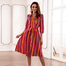 Buy Women Casual Loose Bohemia Midi Shirt Dress Female Long Sleeve Striped Dress 2018 Lady Autumn Summer Beach Party Dress Talever for $15.28 in AliExpress store
