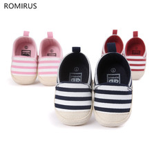 Romirus Fashion Newborn Baby Unisex Kids Prewalker Shoes Infant Toddler Crib Babe Girl Boy Soft Soled Stripe Loafer Ballet Flats