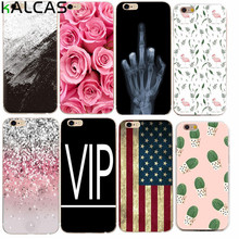 KALCAS For iphone 5 5s 5se 6 6s 4.7'' 7 Cover Case Soft Rose Flower Skull Finger Painting Shell Bags Phone Protector Funda House