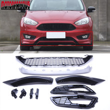 Car Front Bumper Grille Racing Grills For Ford Focus 2015 2016 ABS Gloss Black Honeycomb Gril+1 Pair of Fog light grill Cover(China)