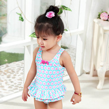 2017 new children blue background powder lovely flowers butterfly knot Siamese swimming suit high-end swimming UPF 50+(China)