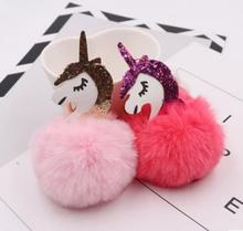 Cute Unicorn pompom Keychain Rabbit fur ball Fluffy licorne key chain Horse porte clef pompom de fourrure pompon Bag Car Keyring(China)