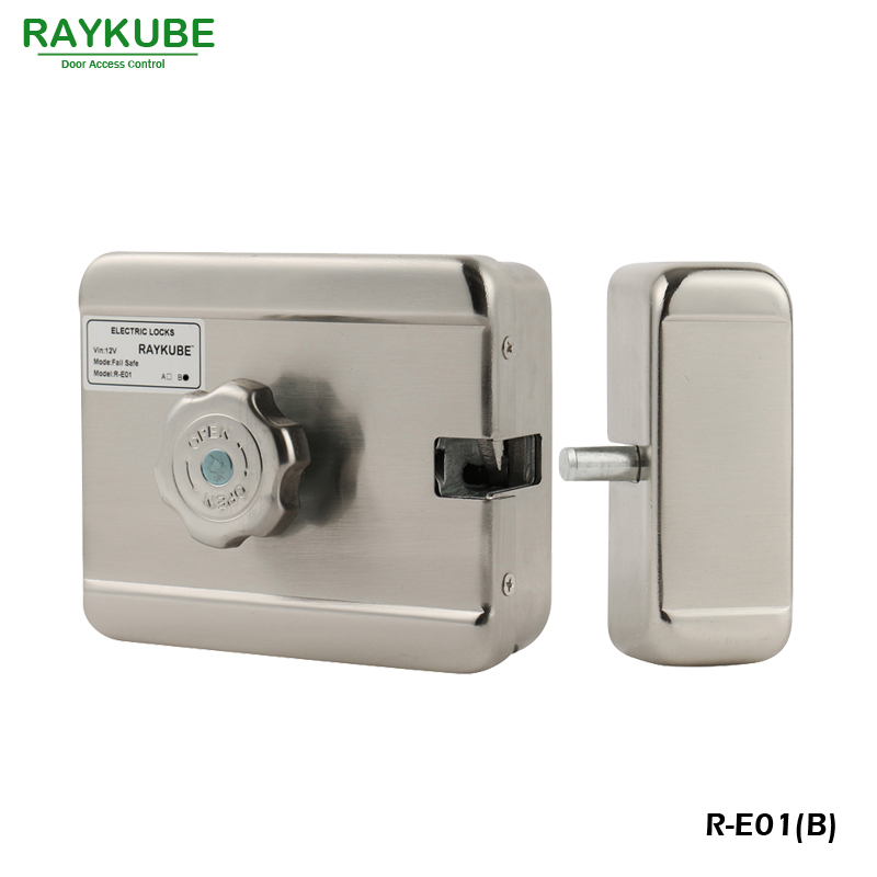 RAYKUBE Electrci Door Lock Stainless Steel Intelligent Motor Electric Lock For Door Access Control System Mode B R-E01<br>