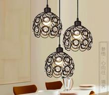 LED American Restoring Ancient sunflower Wrought Iron Cage Nordic Restaurant Industry Pendant Lights(China)