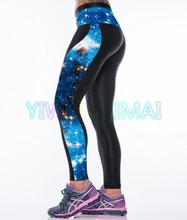 YIWU YOUNGA 2016 Plus Size Blue Galaxy Cloud High Waist Band Large Size Women Medicine Hot Pant Yoga wear Leggings