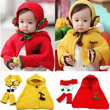 Retail Winter Girls Kid Knit Hooded Shawl Earmuffs Gloves 3 pieces Set Children Kids Ear Hand Arm Warme Wraps Cape  MZ0555