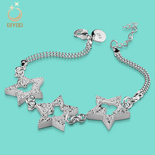 Giyoo Women's 925 Sterling Silver Cartoon Star Mouse & CZ Chain Link Bracelet For Grils(China)