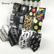 Free Shipping Classic Fashion Men's Music Tie Holiday Festival Printed Piano Guitar Smiling Face Polyester 5 cm Width Necktie(China)