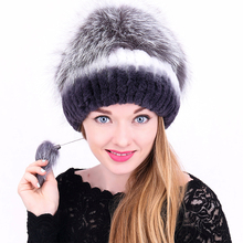 Autumn Winter Women Fur Hat Knitted Rex Rabbit Fur With Fox Fur Ball Beanies For Women Thick Warm Girls Caps With Pompom(China)