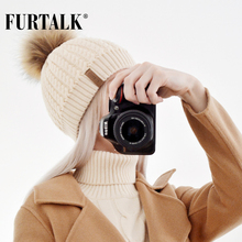 Furtalk Real Fox Fur Hat Big Raccoon Pom Pom Hat Knitted Beanie Caps Spring Autumn Women Winter Hats for Girls(China)