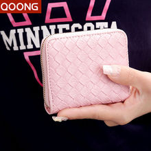 QOONG Hand-made Wallet Women Weave Soft PU Leather Wallets and Coin Purse Holder Sweet Candy Clutch Dollar Price Carteira 004