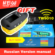 New Wholesales English manual Tomahawk TW9010 Two Way Car Alarm system With Engine Start  2 way car alarm TW9010 Free Shipping