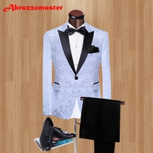 Hot Sale Wedding suit Custom Made Man Suit 3 Color Groomsman Suit Groom Tuxedos Casual Men Stage Clothing Jacket+pants(China)