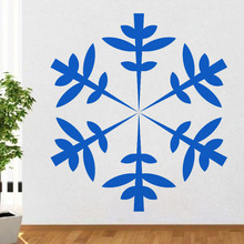 Leaves Pattern Snowflake Wall Decal Christmas Home Decor Sticker Removable Vinyl Waterproof Wall Sticker